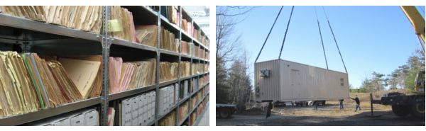 Shipping container storage arrives on your property quickly to store hobby equipment and files.