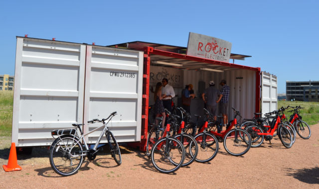Rocket Electrics' new container-based store front for their e-bike business.