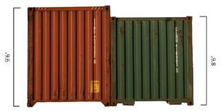 A high-cube container next a typical container.