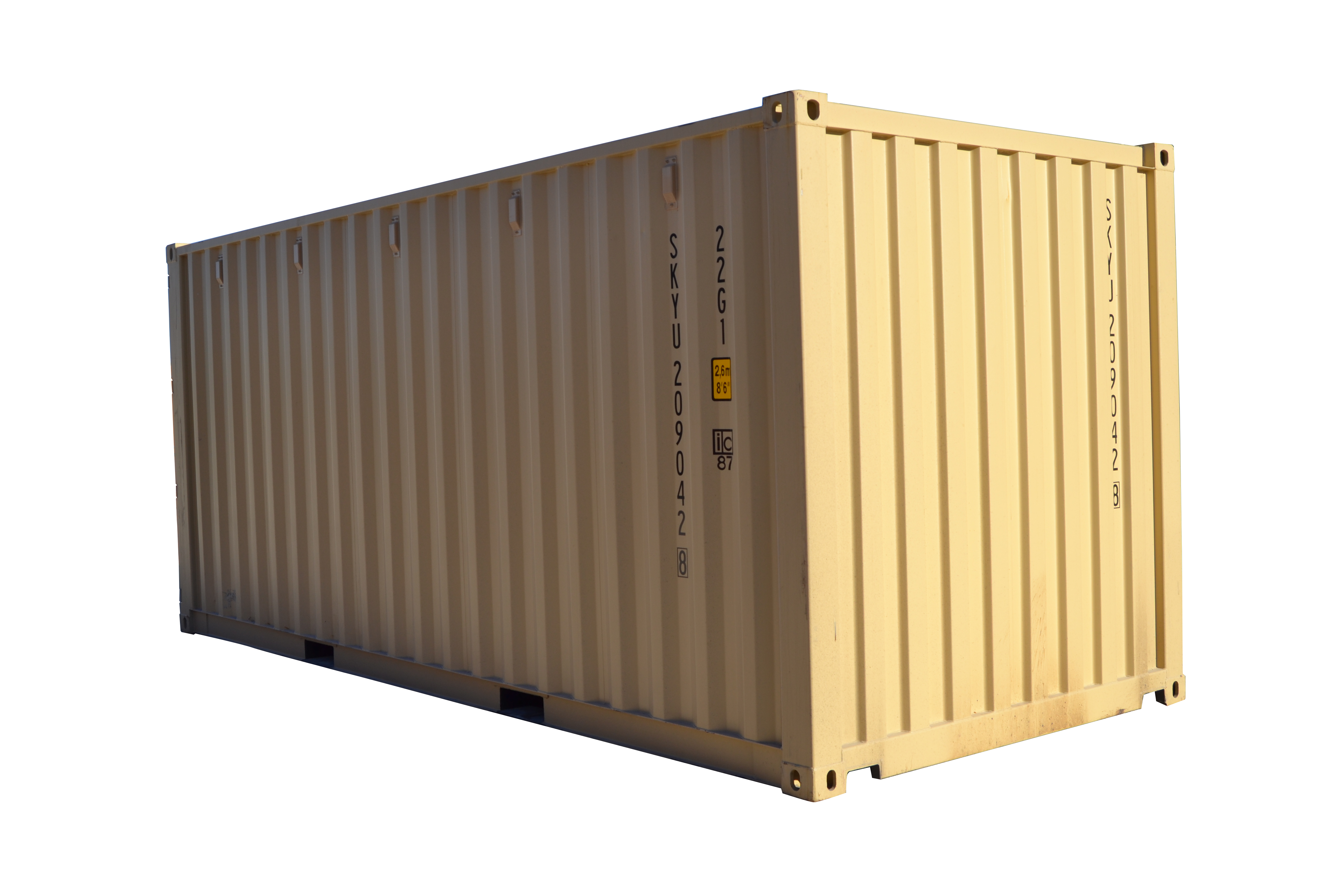A one-trip 20-ft shipping container.