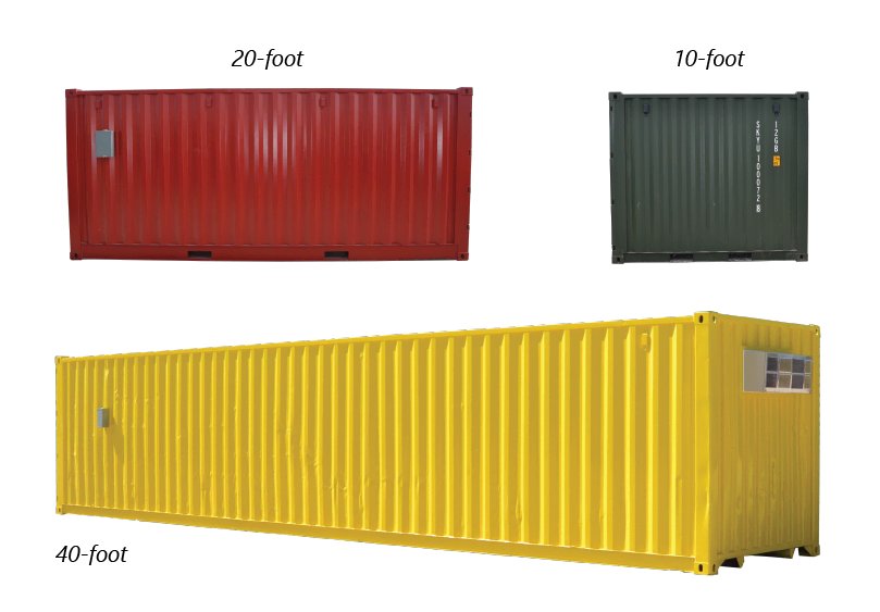 Examples of common container sizes, including 40-ft, 20-ft, and 10-ft containers.