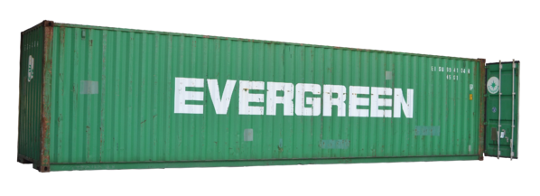 A used 40-foot shipping container.