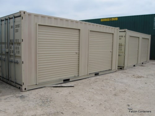 Shipping containers with mulitple rollup doors for vehicle storage