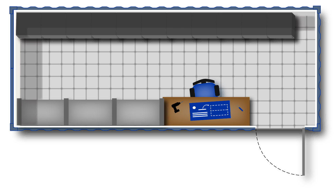 Concept for onsite storage container with a work bench.