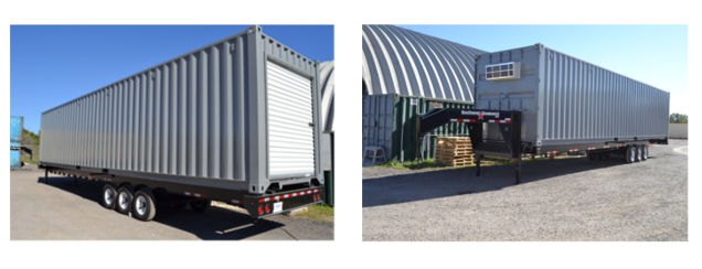 This shipping container-based storage will be level with warehouse loading docks thanks to the chassis.
