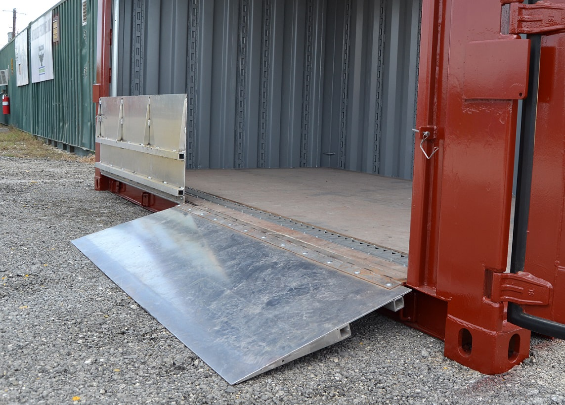 Custom folding ramps for storage containers