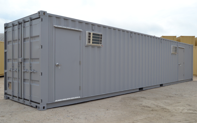 Exterior of onsite storage container with doors.