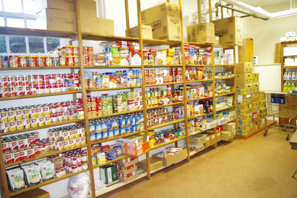 This food bank places food on shelves to create an experience more like shopping.