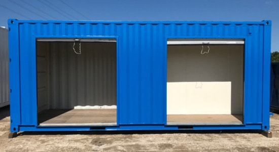 20-foot ISO container partitioned for storage.