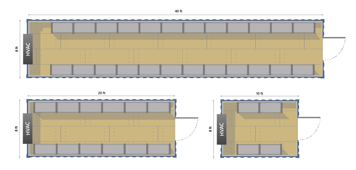 Layouts for conex container restaurant storerooms.
