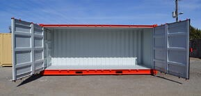 20-foot open sided shipping container.