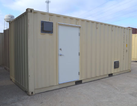 Exterior of a container converted into onsite records storage.