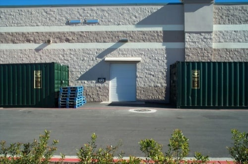 Storage containers outside retailer