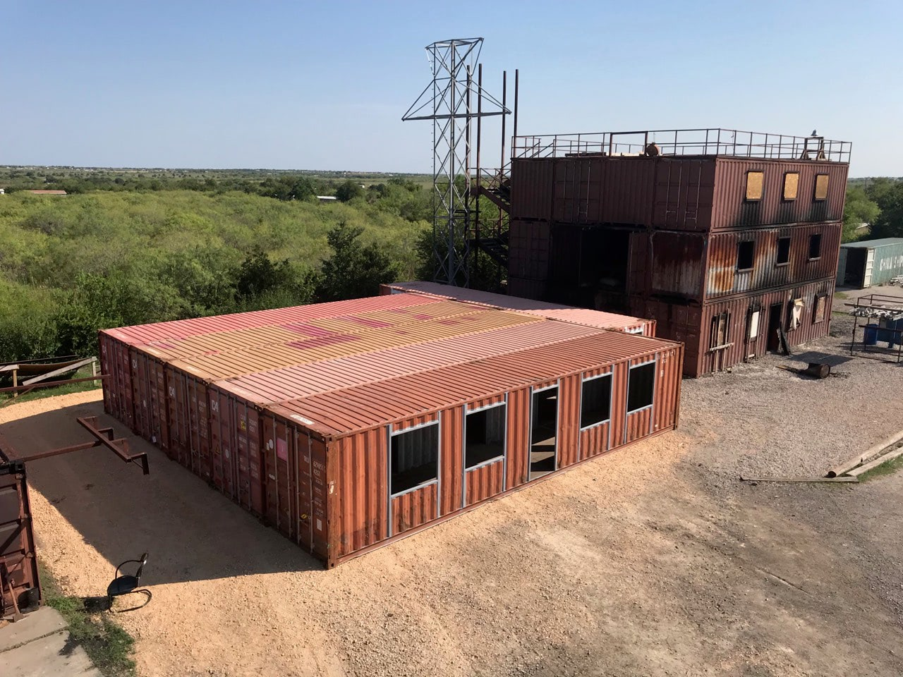 Shipping container training structure for fire fighters