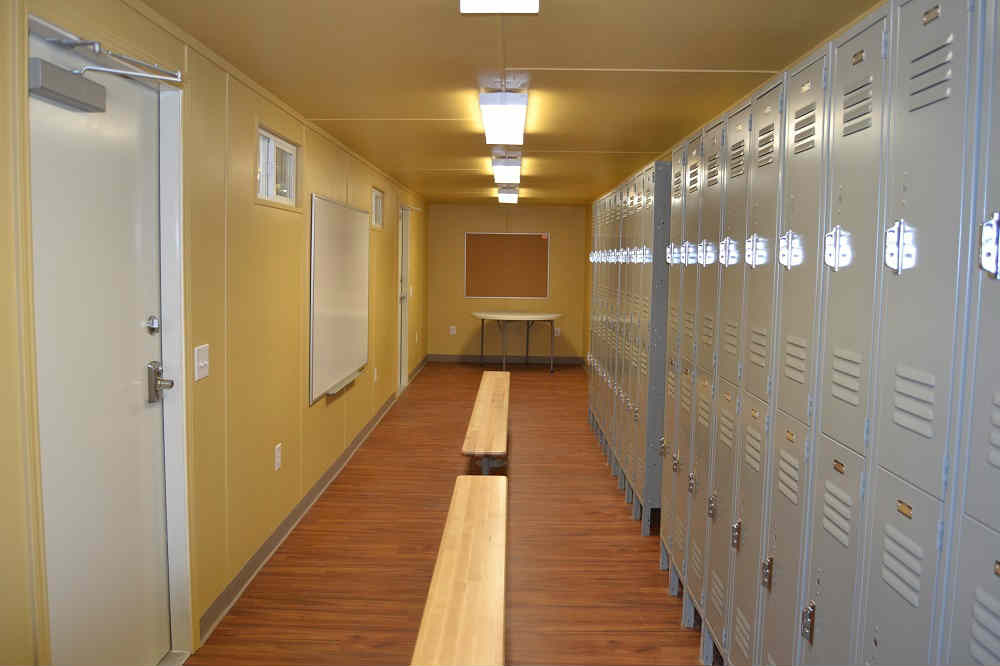 Shipping Container Locker Room