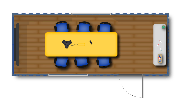 Concept layout for a 20-foot containerized meeting room