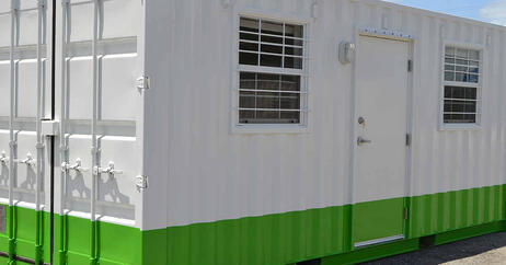 Branded Shipping Container Office With Green Stripe