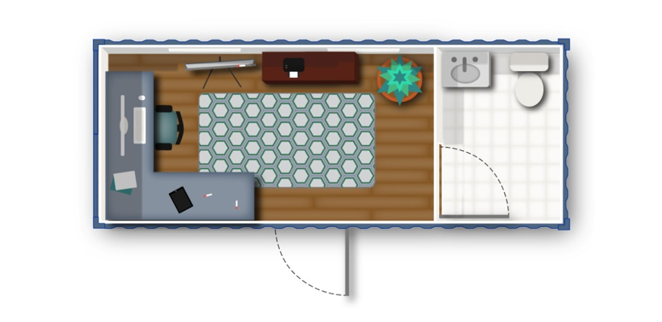 Floorplan for shipping container office with bathroom.