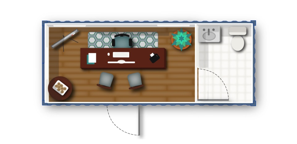 Floorplan concept for a portable sales office built inside a shipping container.