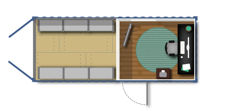 Mobile container office configuration with partitioned storage space.