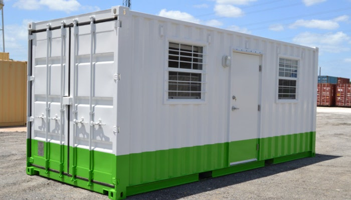 A shipping container meeting room with great paint
