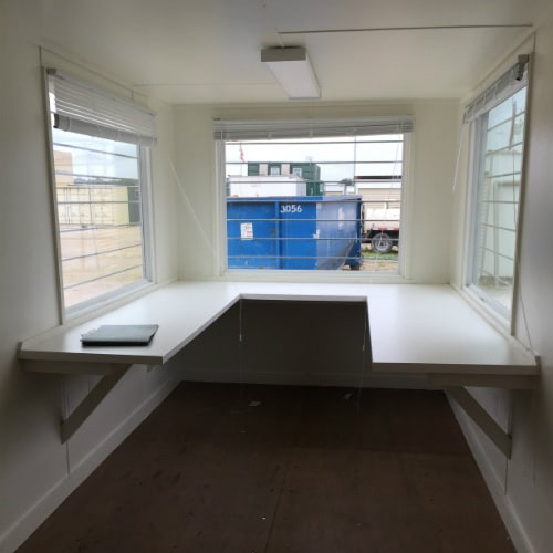 Shipping Container Office with 3 windows and desk