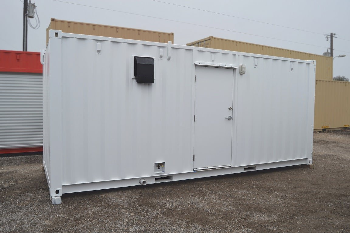 Exterior of all metal locker room to be used at compressor station