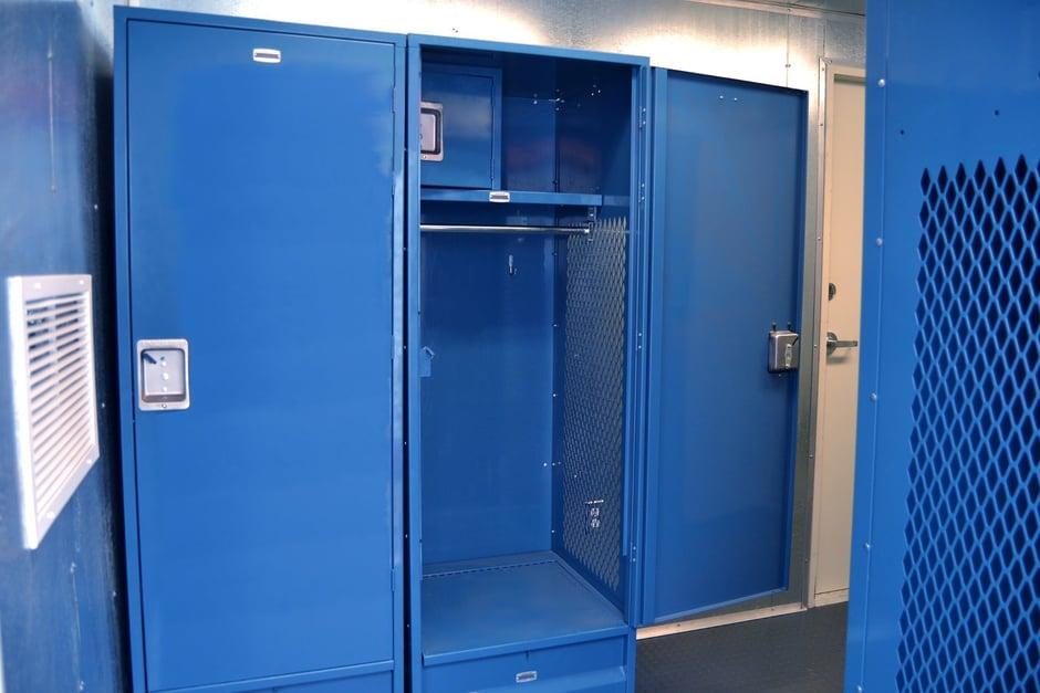 Locker installed inside of locker room with bathroom