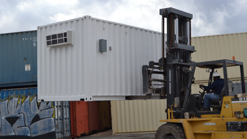 Mobile container offices can be dropped off with a forklift in less than an hour.