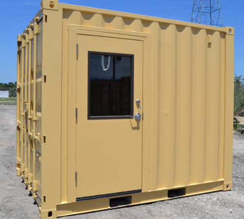 Mobile Security booth with a personnel door and window built from conex container.