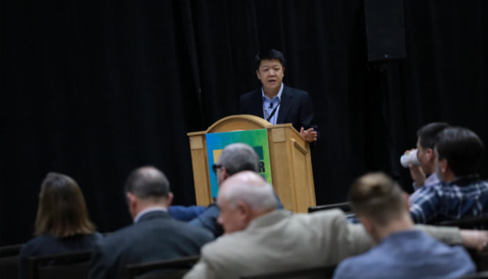 Stephen Shang speaking at the World of Modular conference.