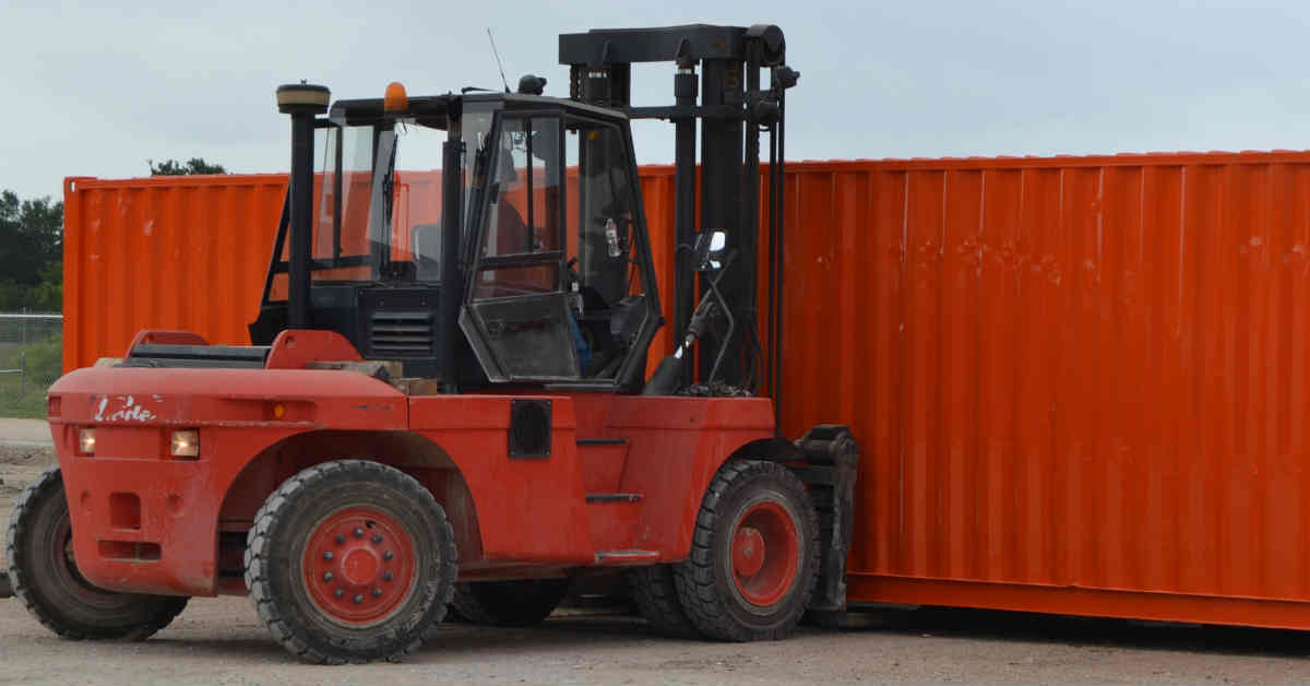 Shipping Container on a Forklift