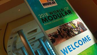Welcome sign to the World of Modular Conference.