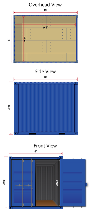 10-foot shipping container dimensions, interior and exterior