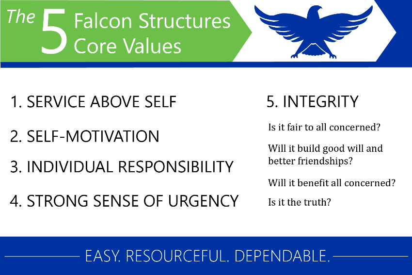 An overview of Falcon Structures' core values.