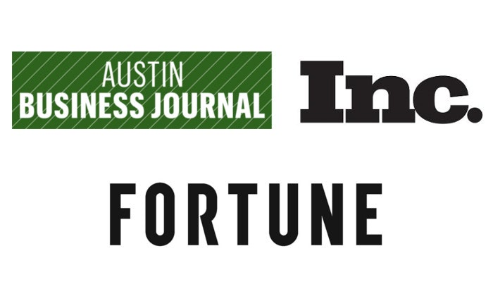 Logos of news outlets that have published about Falcon Structures including, The Austin Business Journal, Inc., and Fortune Magazine.