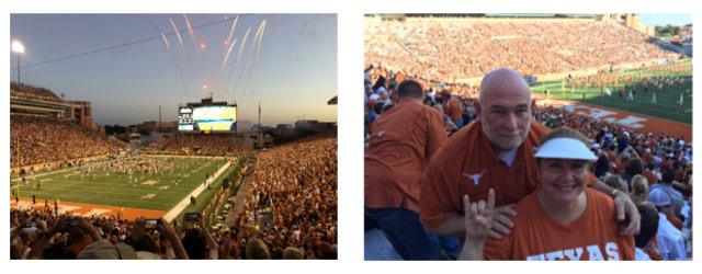 University of Texas' Darrell K Royal-Texas Memorial Stadium needed a new sound system. Falcon is a big Longhorns fan.