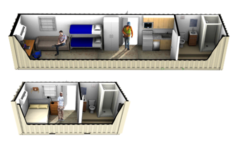 Click to learn more about conex containers modified into mobile living space with a bathroom and bunk area.
