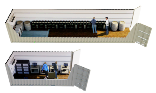 Click to learn more about shipping container modified to a climate controlled storage space with air conditioning and insulation.