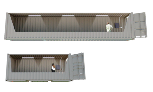 Click to learn about shipping containers modified to have plug and play lighting.