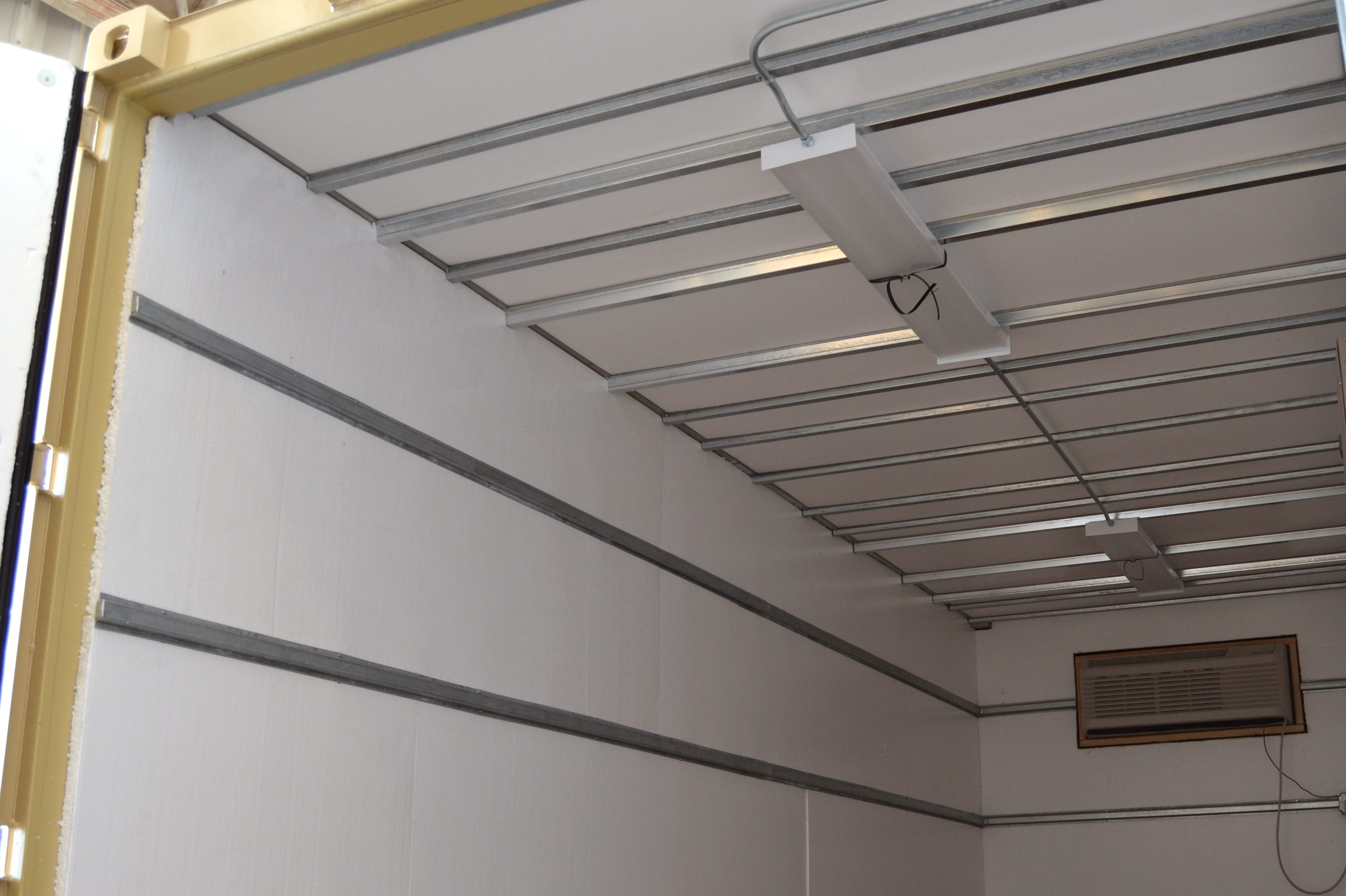 Styrofoam insulation in a modified shipping container