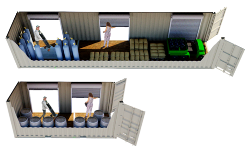 Conex container modified to have overhead door for easy storage access.
