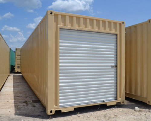 Shipping container modified to have a roll-up door for easy access storage