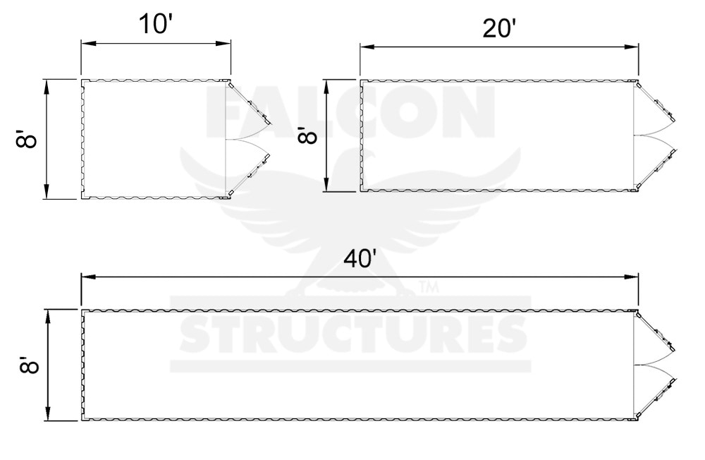 10ft, 20ft and 40ft Straight Box Plan View
