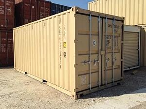 A 20-foot shipping container ready to be modified.