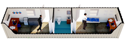 Shipping container modified into a dual office with a half-bathroom in the center