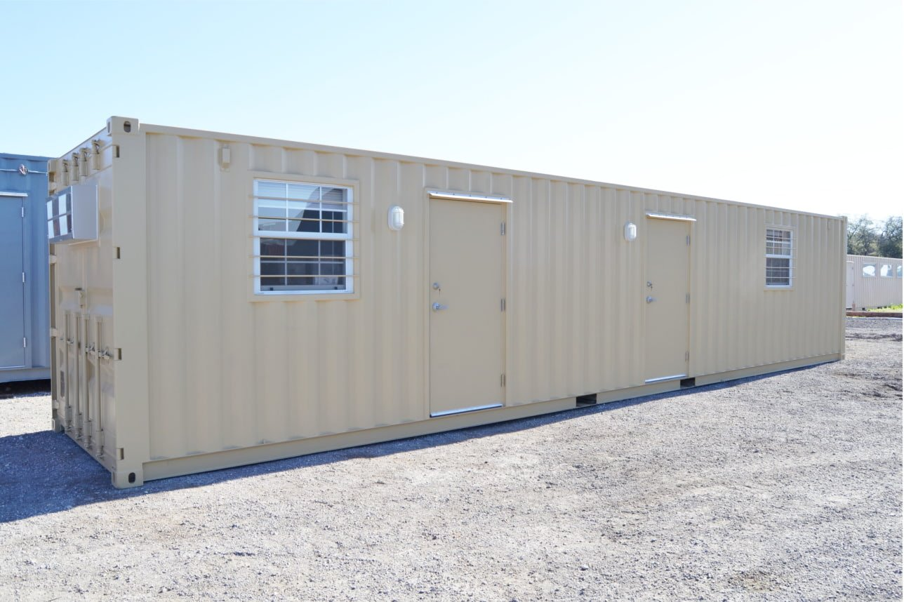 Portable office building built in a 40ft shipping container