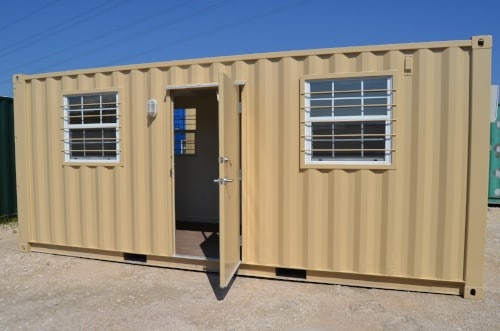 20ft Open Shipping Container Office Exterior with windows and personnel door
