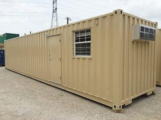 Exterior of 40-foot shipping container-based ground level office