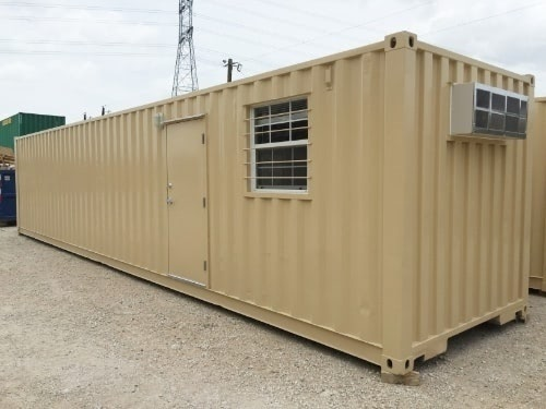 Shipping containers are excellent storage options for automotive shops.